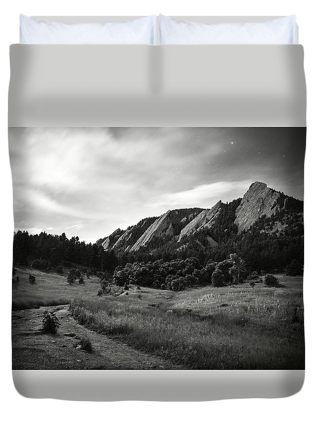 Camp Duvet Cover featuring the photograph Chautauqua Night Path by Marilyn Hunt