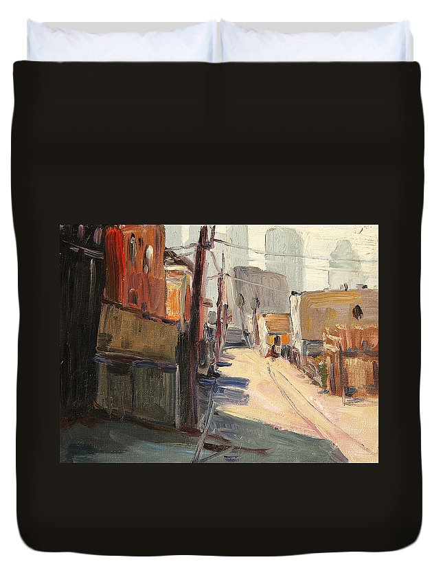 Duvet Cover featuring the painting Chavez Alley by John Matthew