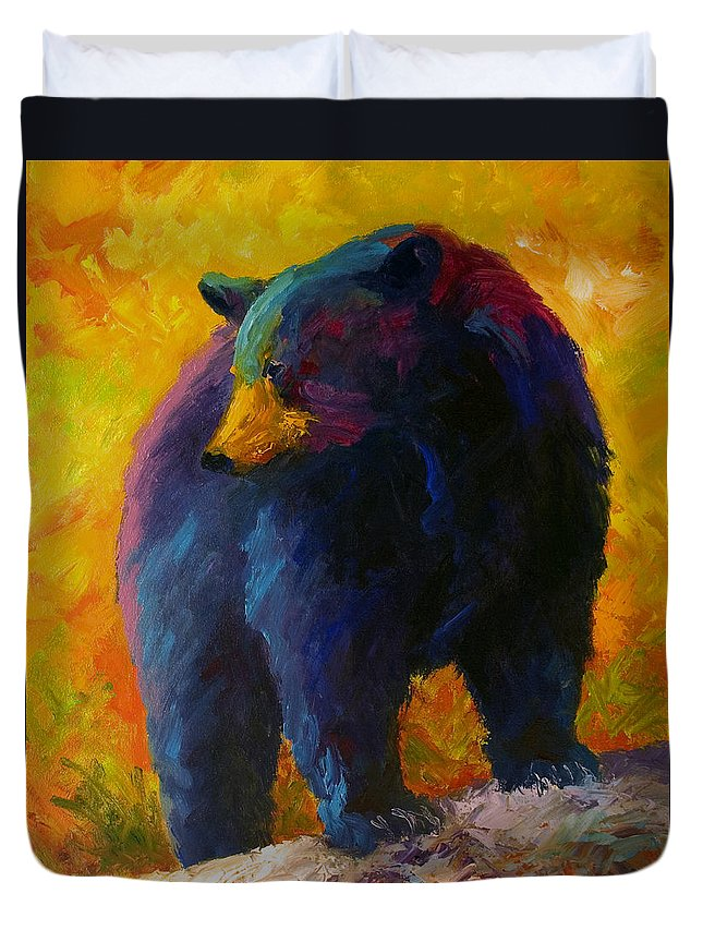 Western Duvet Cover featuring the painting Checking The Smorg - Black Bear by Marion Rose