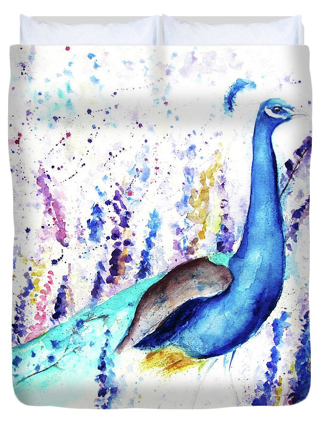 Peacock Duvet Cover featuring the painting Cheery by Andrea Realpe