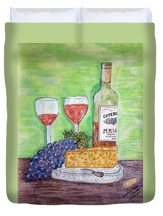 Cheese Duvet Cover featuring the painting Cheese Wine And Grapes by Kathy Marrs Chandler