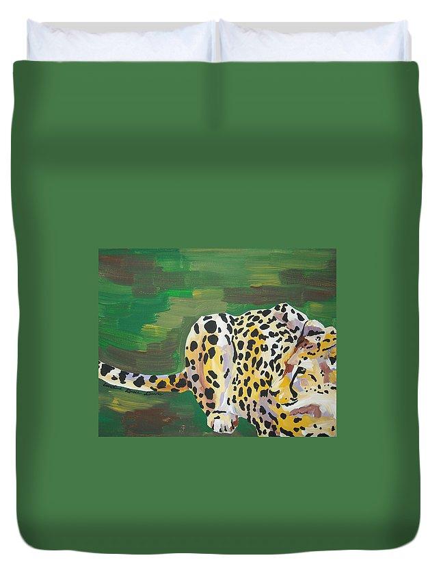Cheetah Duvet Cover featuring the painting Cheetah by Caroline Davis