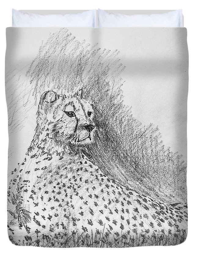 Cheetah Duvet Cover featuring the drawing Cheetah by George Desire Herman