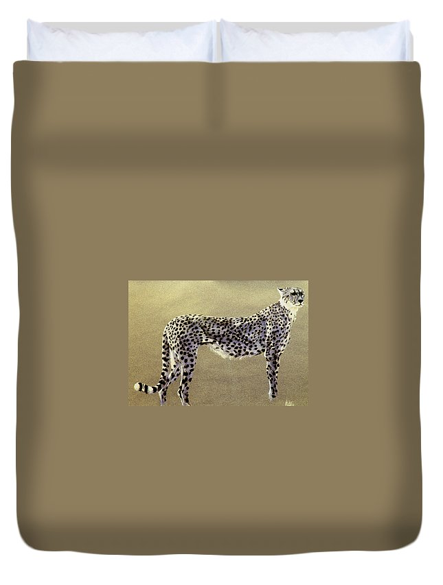 Wildlife Duvet Cover featuring the drawing Cheetah by Paul Miller