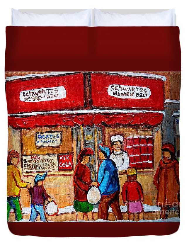 Schwartzs Hebrew Deli Duvet Cover featuring the painting Chef In The Window by Carole Spandau