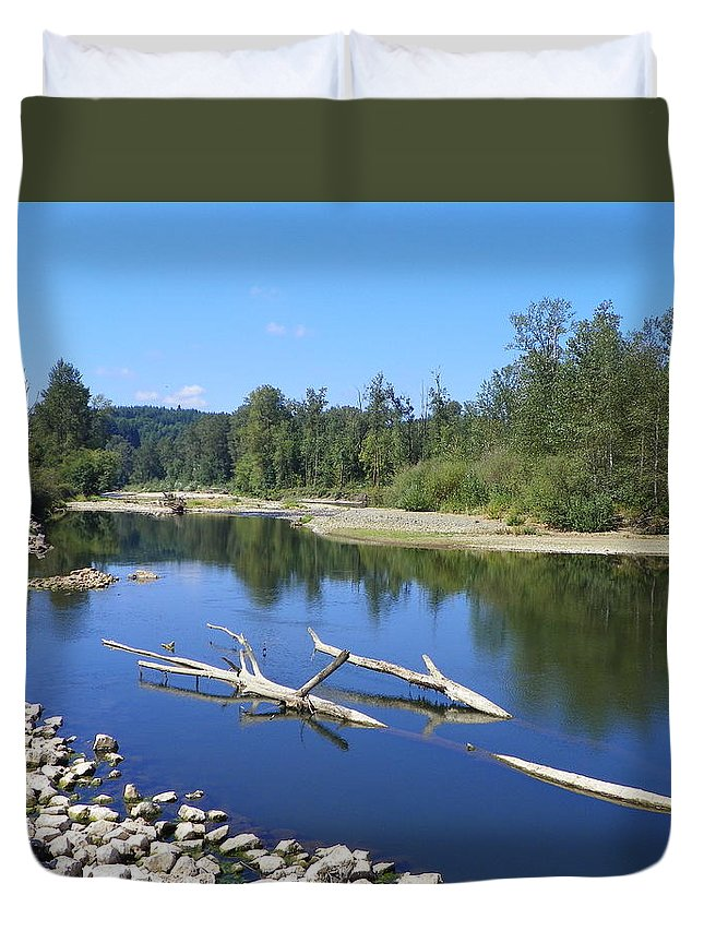 Digital Photography Duvet Cover featuring the photograph Chehalis River Washington by Laurie Kidd