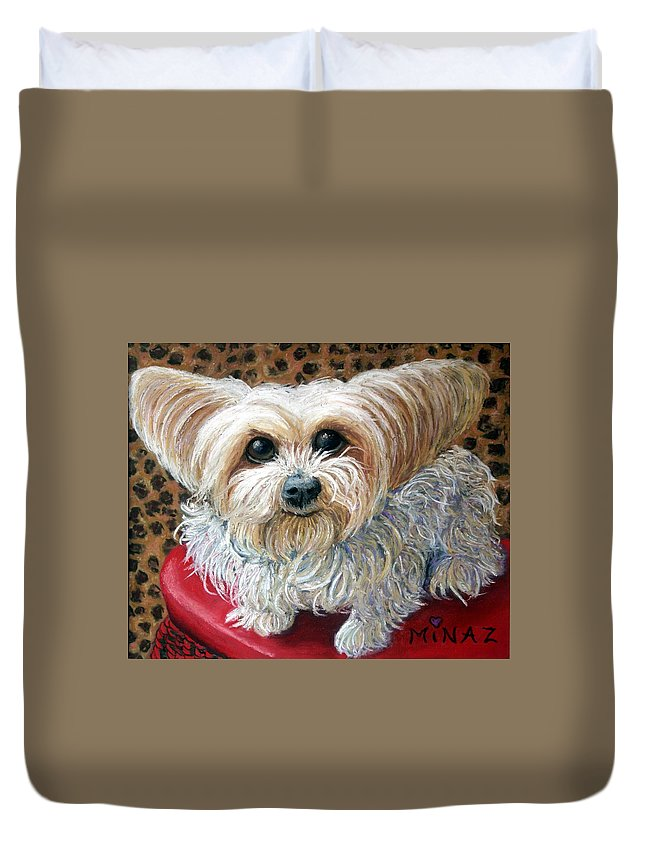 Dog Duvet Cover featuring the painting My Friend by Minaz Jantz