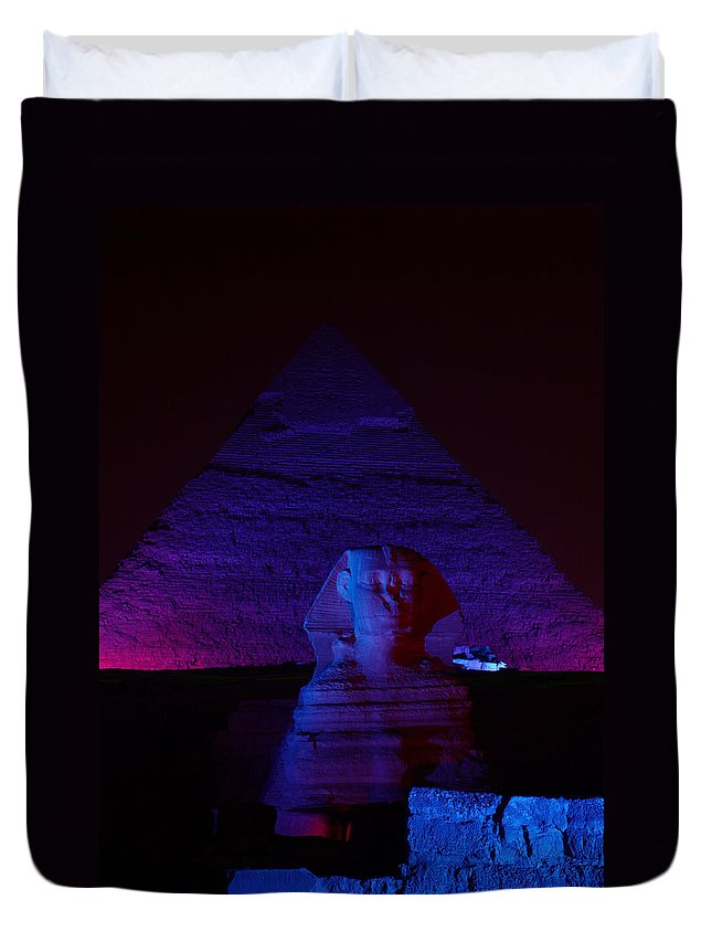 Pyramid Duvet Cover featuring the photograph Cheops In Blue by Donna Corless