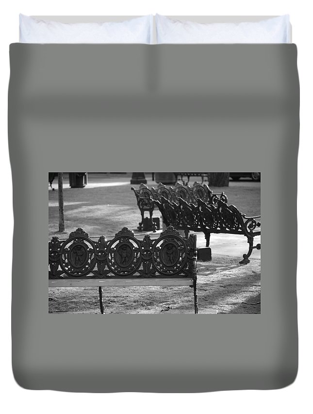 Black And White Duvet Cover featuring the photograph Cherb Benches by Rob Hans