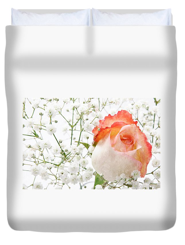 Pink Rose Duvet Cover featuring the photograph Cherish by Andee Design