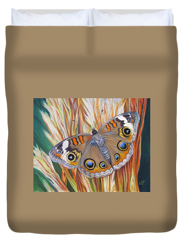 Buckeye Duvet Cover featuring the painting Cherished by Amy Tyler