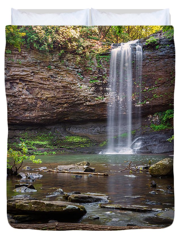 Cherokee Falls Waterfall Landscape Cloudland State Park Georgia Duvet Cover featuring the photograph Cherokee Falls - Cloudland State Park Georgia by Brian Harig