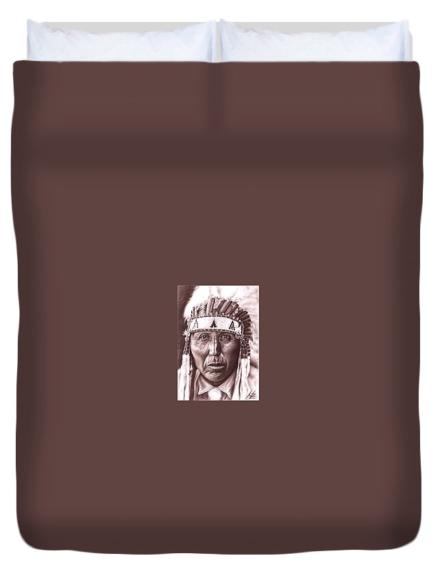 Indian Duvet Cover featuring the drawing Cherokee by Nicole Zeug