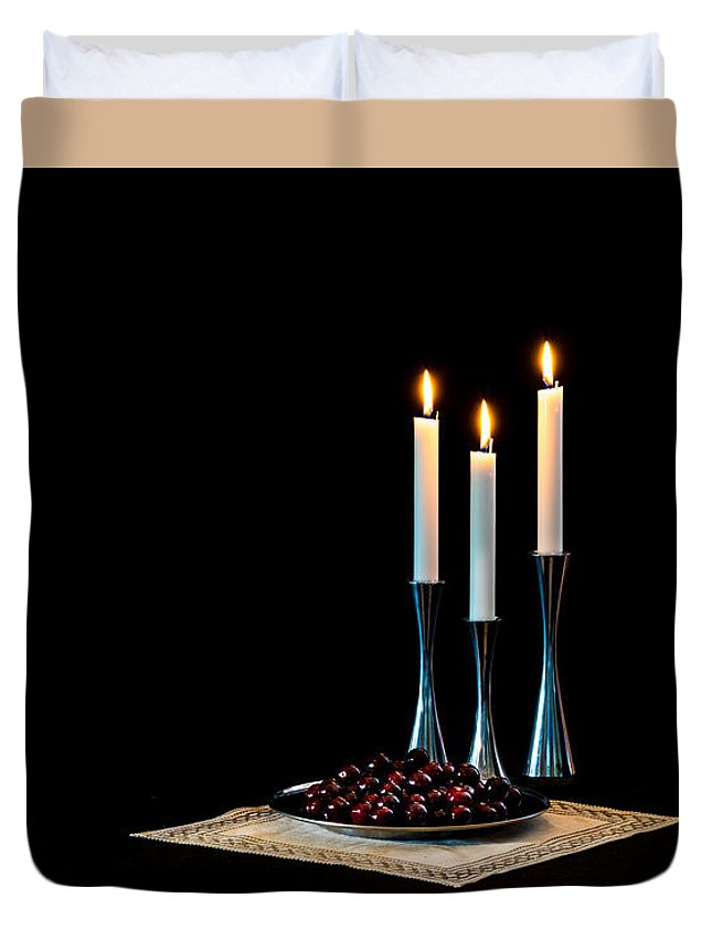 Cherries And Candles In Steel Duvet Cover featuring the photograph Cherries And Candles In Steel by Torbjorn Swenelius