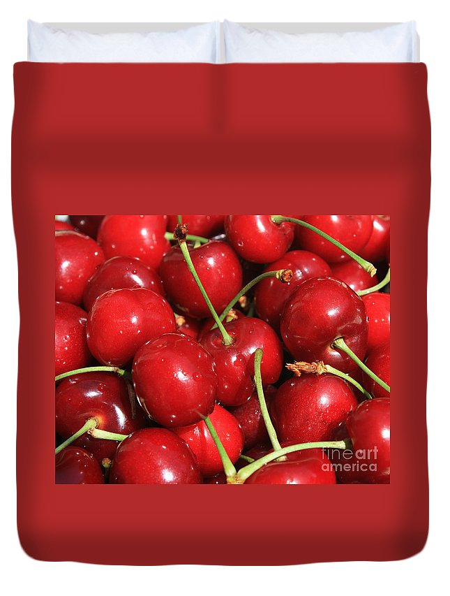 Food And Beverages Duvet Cover featuring the photograph Cherries by Carol Groenen