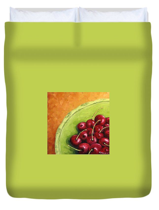 Art Duvet Cover featuring the painting Cherries Green Plate by Richard T Pranke