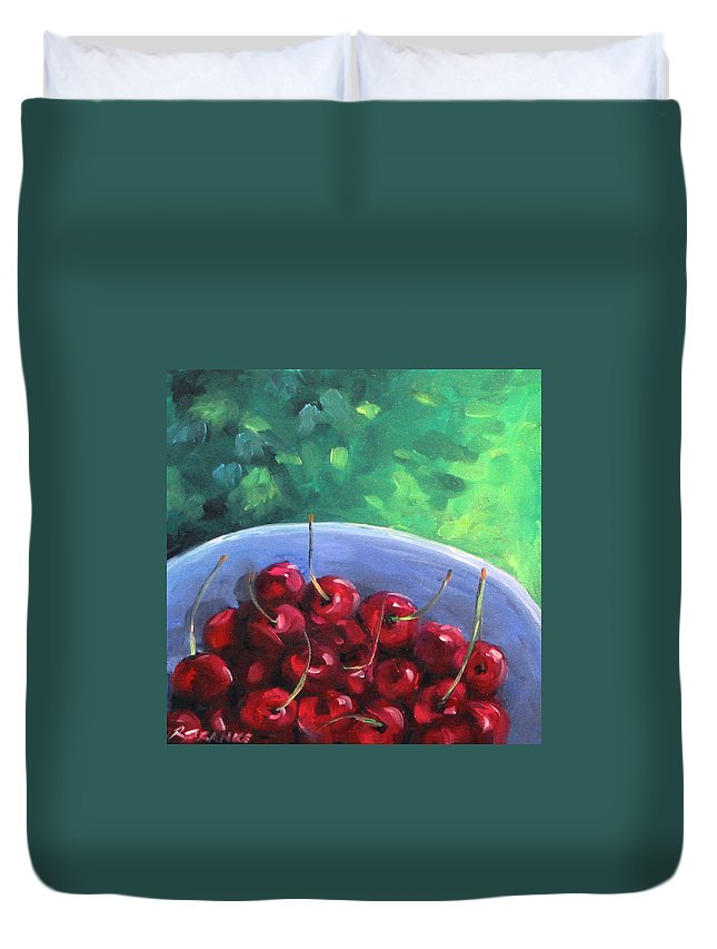 Art Duvet Cover featuring the painting Cherries On A Blue Plate by Richard T Pranke