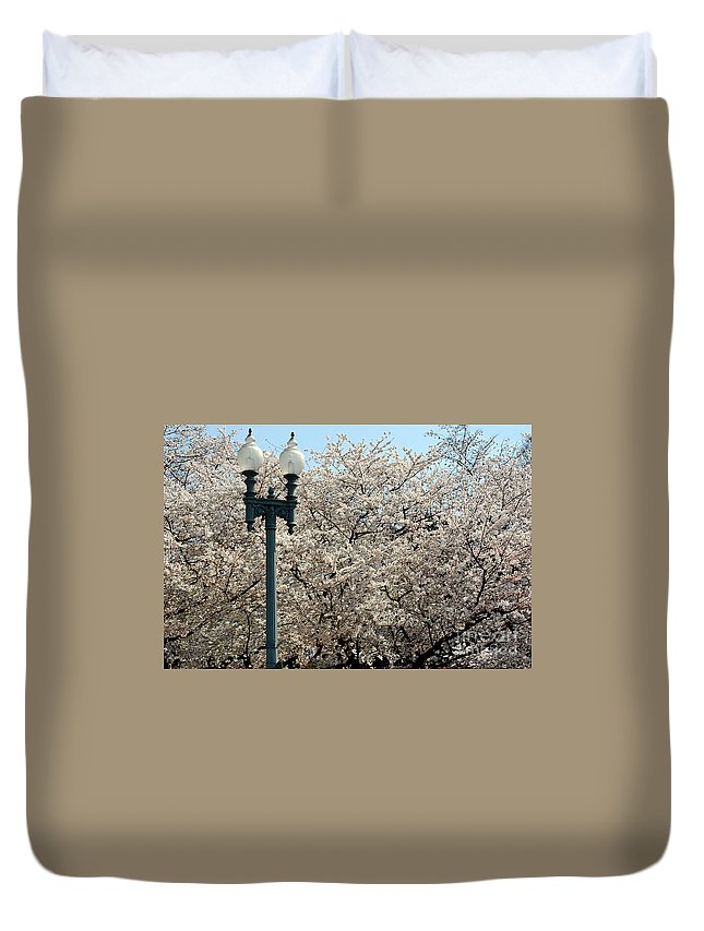 Clay Duvet Cover featuring the photograph Cherry Blossom Festival by Clayton Bruster