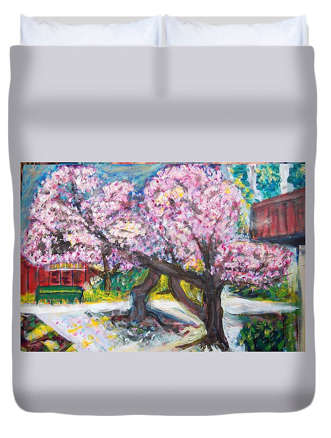 Cherry Tree Duvet Cover featuring the painting Cherry Blossom Time by Carolyn Donnell