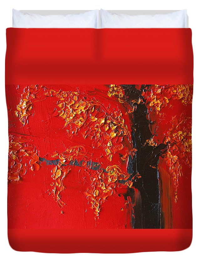 Landscape Duvet Cover featuring the painting Cherry Blossom Tree - Red Yellow by Patricia Awapara