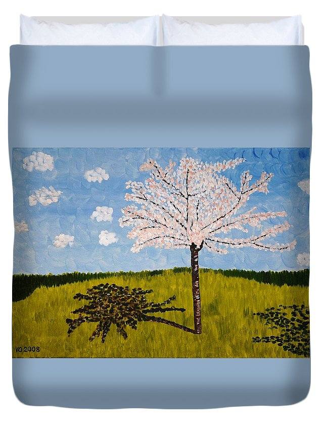 Cherry Duvet Cover featuring the painting Cherry Blossom Tree by Valerie Ornstein