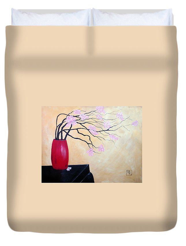 Oriental Duvet Cover featuring the painting Cherry Blossoms by Susan Kubes