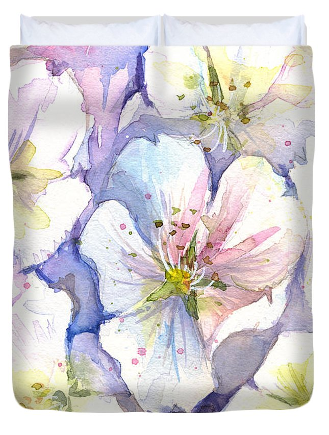 Cherry Blossom Duvet Cover featuring the painting Cherry Blossoms Watercolor by Olga Shvartsur