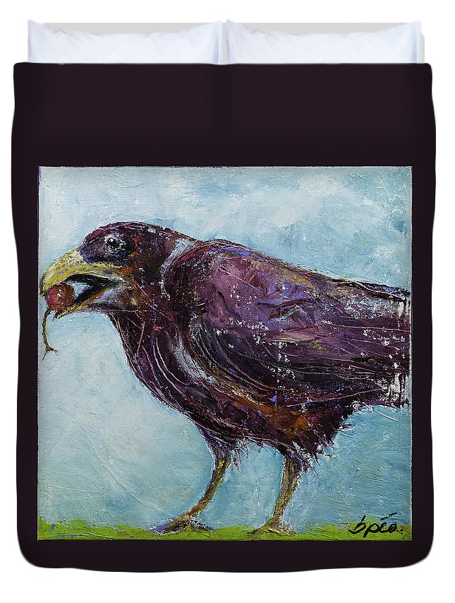 Raven Duvet Cover featuring the painting Cherry by Brenda Peo