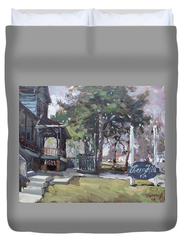 Cherry Hills Pub Duvet Cover featuring the painting Cherry Hill Pub by Ylli Haruni