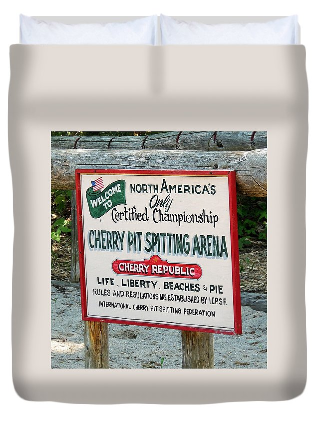 Cherry Duvet Cover featuring the photograph Cherry Pit Spitting by Adlai Neubauer