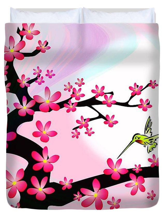 Cherry Duvet Cover featuring the digital art Cherry Tree by Anastasiya Malakhova