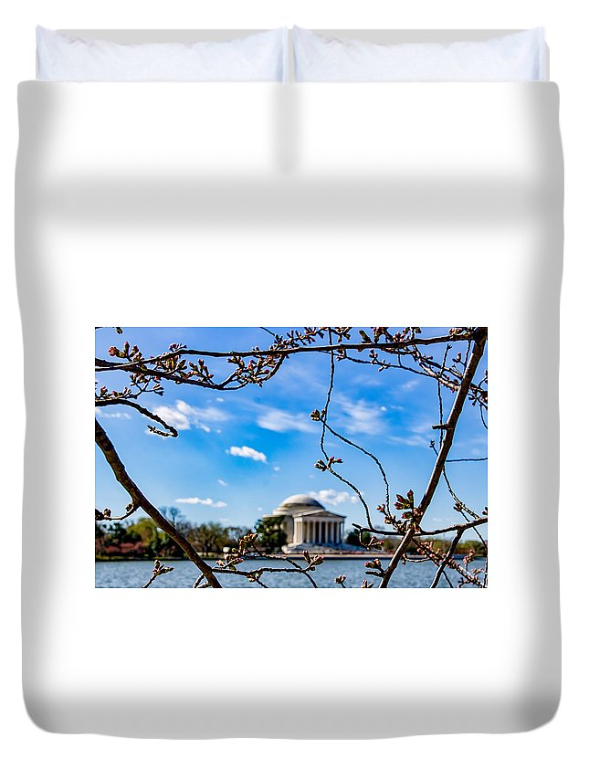 Cherry Tree Duvet Cover featuring the photograph Cherry Tree Buds by Carol Ward