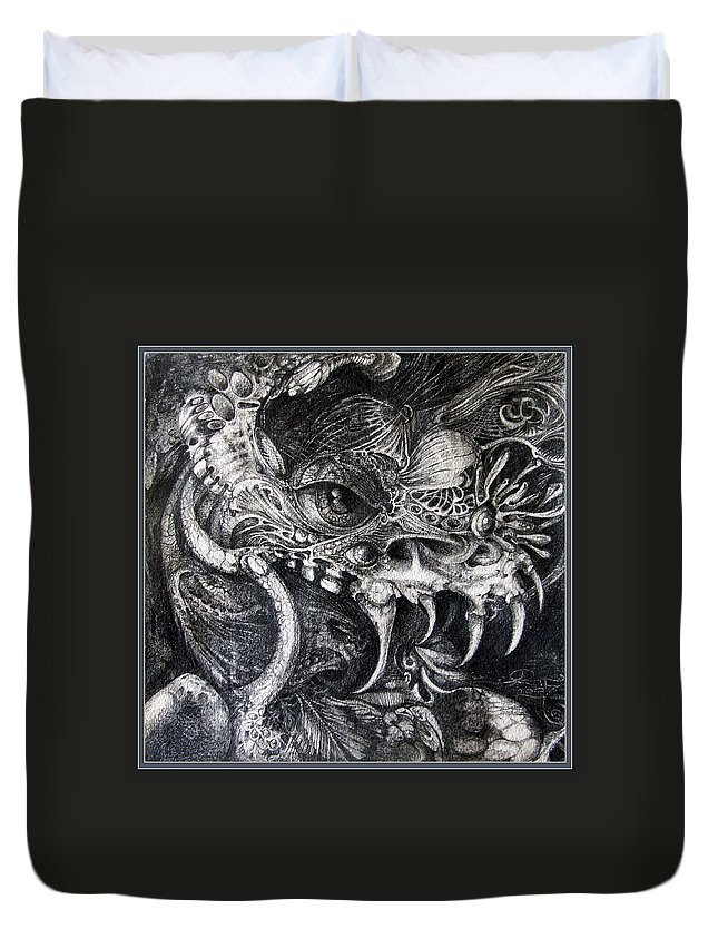 Duvet Cover featuring the drawing Cherubim Of Beasties by Otto Rapp