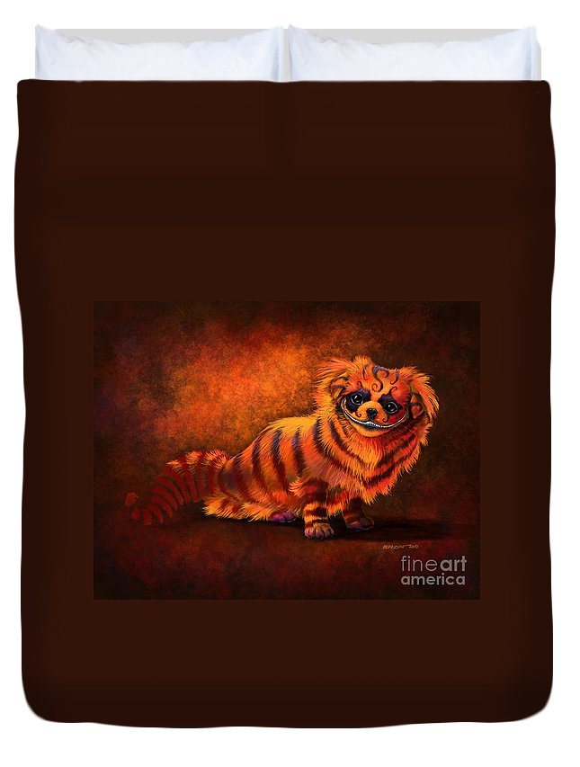 Dog Duvet Cover featuring the digital art Cheshire Canine by Stanley Morrison