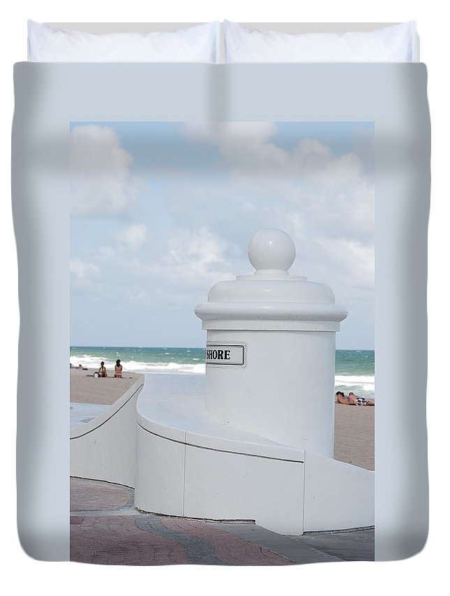 Shore Duvet Cover featuring the photograph Chess Pawn Shore by Rob Hans