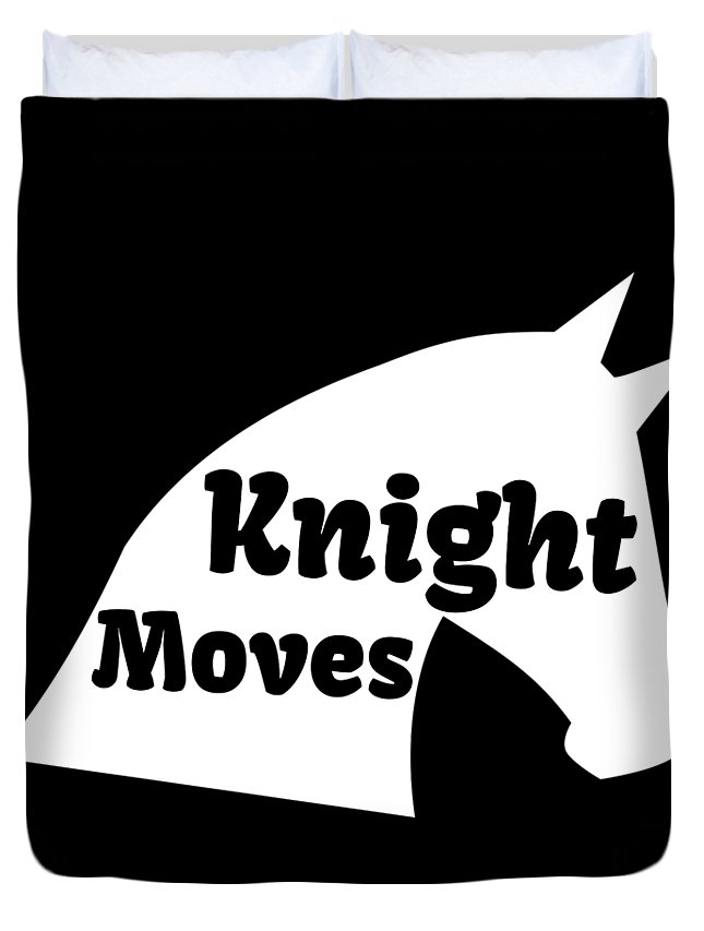 Chess-club Duvet Cover featuring the drawing Chess Player Gift Knight Moves Horse Lover Chess Lover by Kanig Designs
