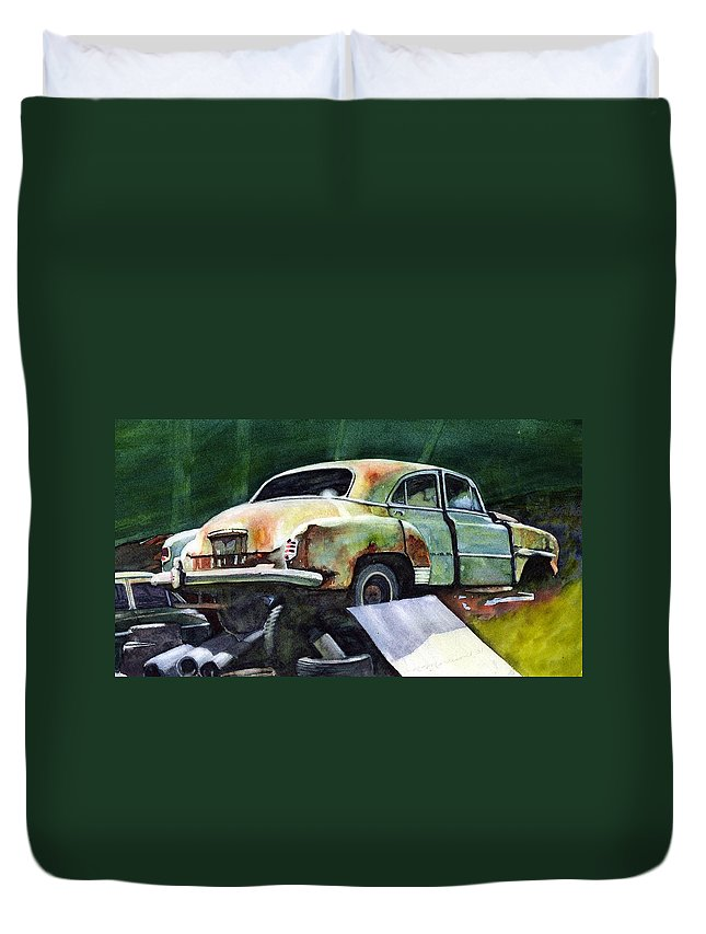 Chev Duvet Cover featuring the painting Chev At Rest by Ron Morrison