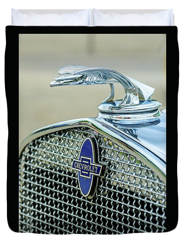 Gaetano Chieffo Duvet Cover featuring the photograph Chevrolet Hood Ornament by Gaetano Chieffo