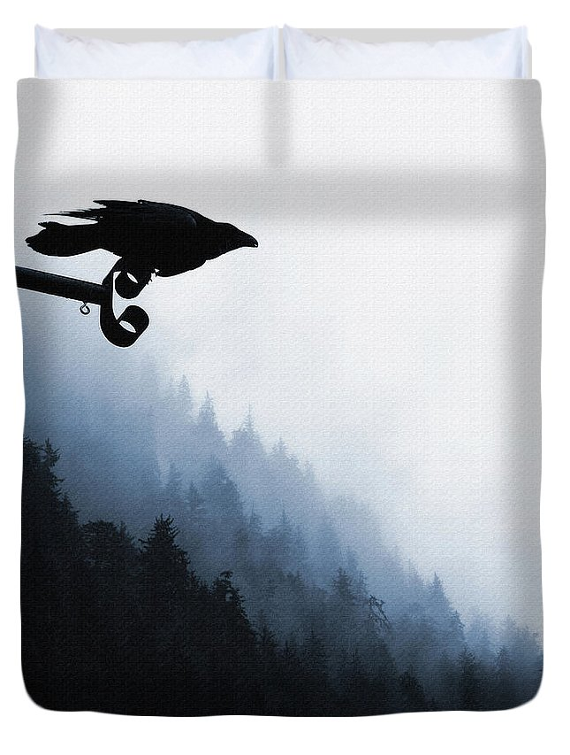 Raven Duvet Cover featuring the digital art Chevron Raven by Perri Kelly