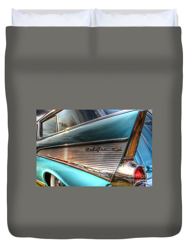Chevy Duvet Cover featuring the photograph Chevy Bel Air by Joel Witmeyer