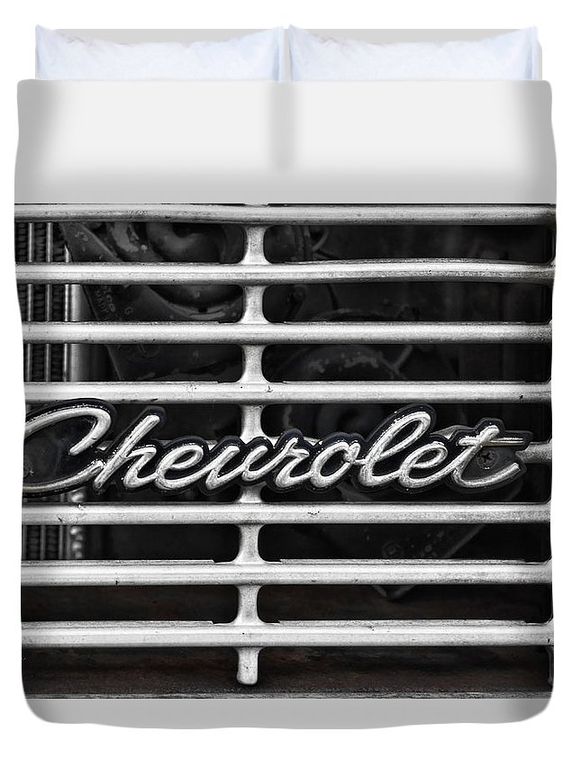 Chevrolet Duvet Cover featuring the photograph Chevy Grill by Sharon Popek