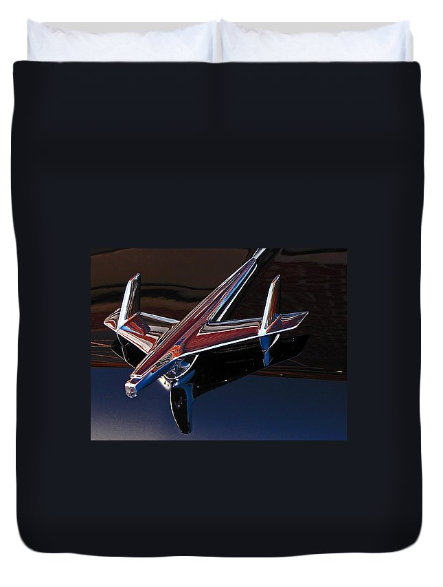 Chevrolet Duvet Cover featuring the photograph Chevy Hood Ornament by Gary Adkins
