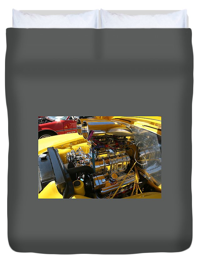 Motor Duvet Cover featuring the photograph Chevy Motor - Side View by Lynn Michelle