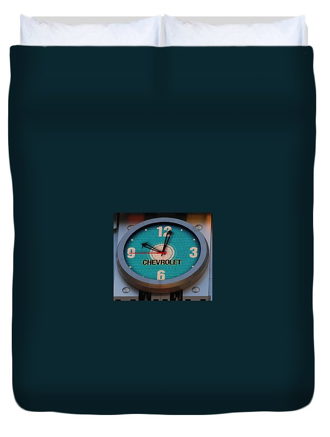 Clock Duvet Cover featuring the photograph Chevy Neon Clock by Rob Hans