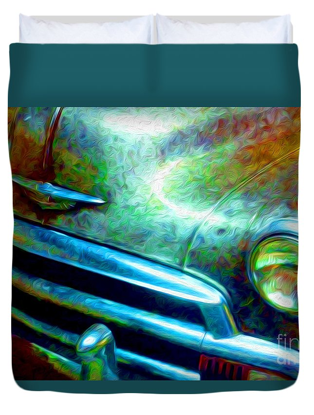 Paintings Photos Drawings Digital Art Mixed Media Paintings Illustrations Photographs Digital Artist Abstract Architecture Fantasy Impressionism Landscape Portraits Science Fiction Still Life Surrealism Editorial Satire Statement Nature Artificial Mechanical Organic Environment Dream Duvet Cover featuring the mixed media 1953 Bel Air Chevy Project 2 by Kevin Keeling