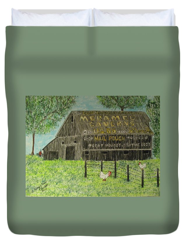 Chew Mail Pouch Duvet Cover featuring the painting Chew Mail Pouch Barn by Kathy Marrs Chandler
