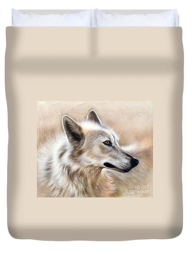 Acrylic Duvet Cover featuring the painting Cheyenne by Sandi Baker