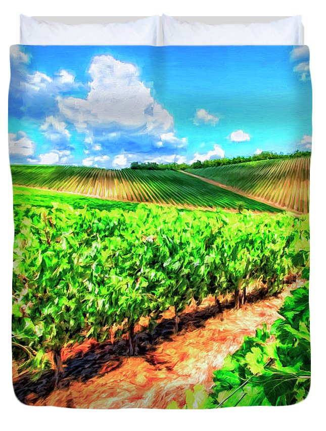 Chianti Duvet Cover featuring the painting Chianti Vineyard In Tuscany by Dominic Piperata
