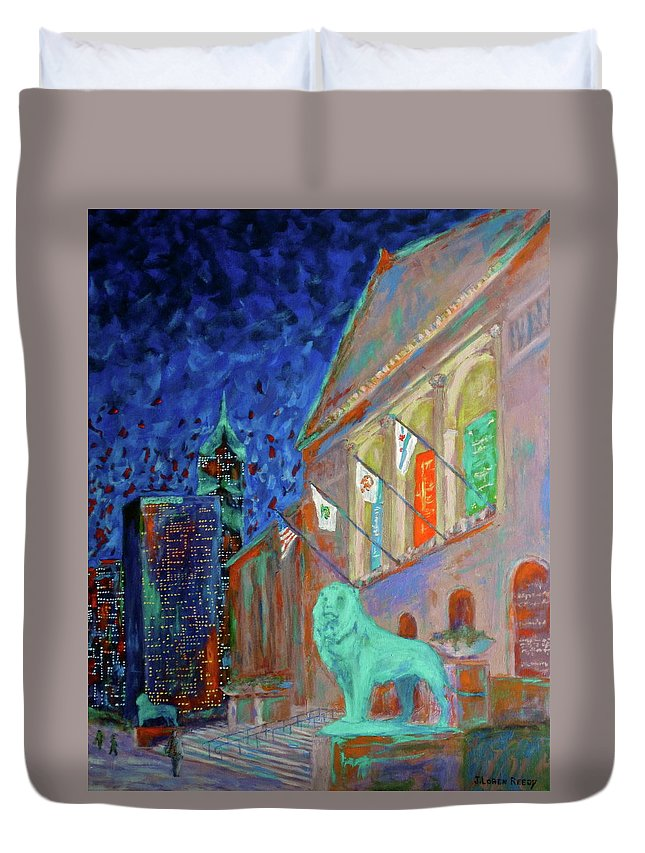 Chicago Art Institute Duvet Cover featuring the painting Chicago Art Institute by J Loren Reedy