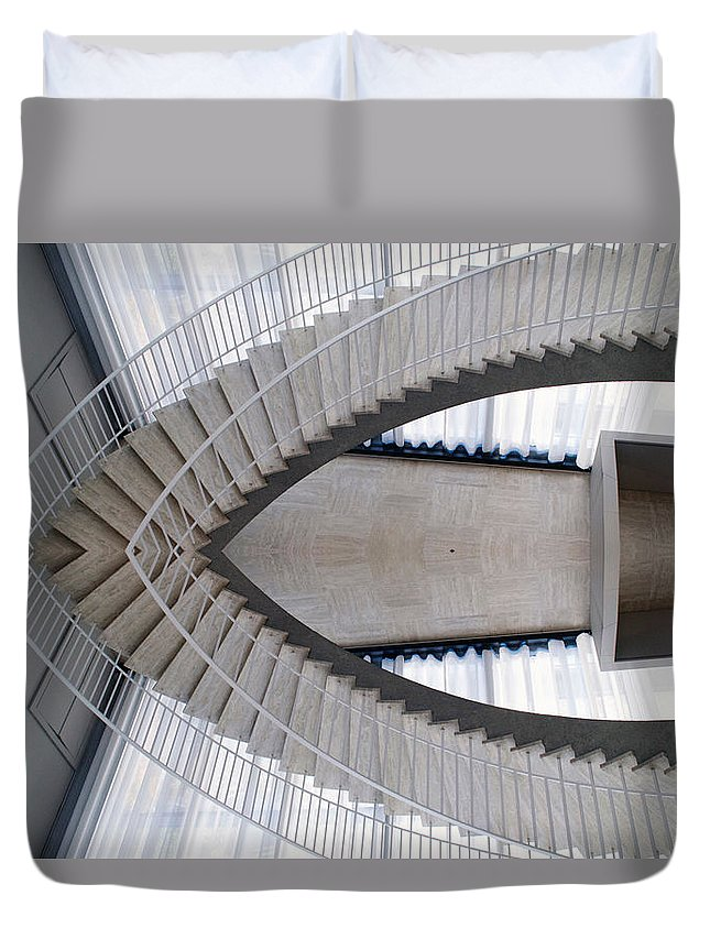 Art Institute Duvet Cover featuring the photograph Chicago Art Institute Staircase Mirror Image 01 by Thomas Woolworth